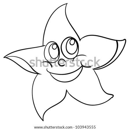 Black White Cartoon Vector Illustration Happy Stock Vector