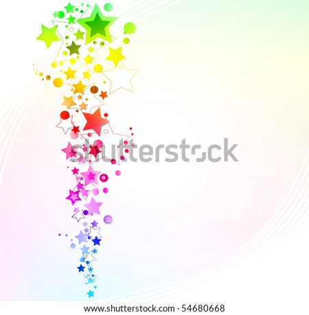 Illustration of a starry rainbow explosion design background. - stock photo