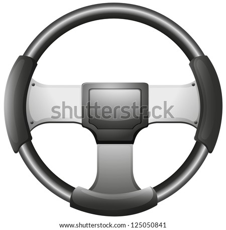 Illustration of a steering wheel on a white background - stock photo