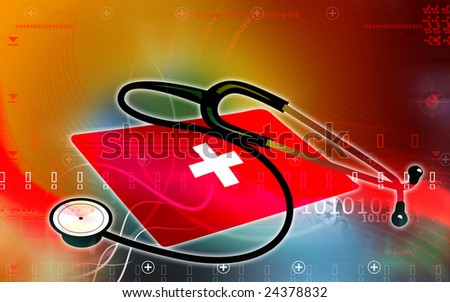Illustration of a stethoscope and red cross symbol