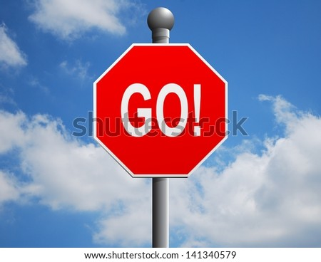 Illustration of a stop sign with the word go on it against a cloudy sky - stock photo