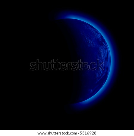 illustration of a strange planet in black sky