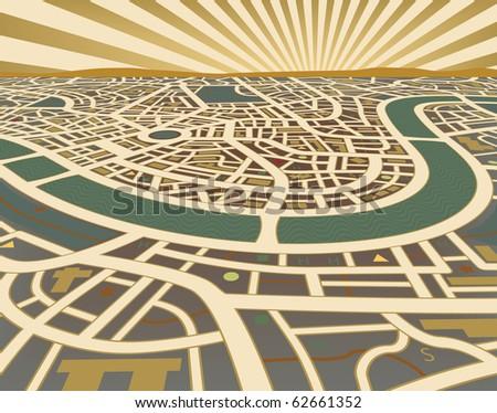 Illustration of a street map landscape - stock photo