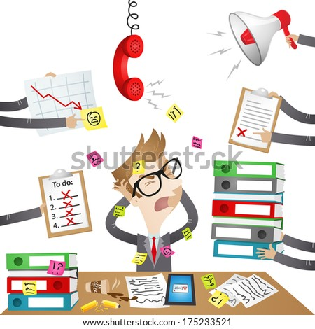 Illustration of a stressed out cartoon businessman screaming as unfinished paperwork and inquiries overwhelm him (Vector version also available in my gallery). - stock photo