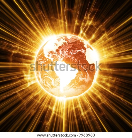 Illustration of a stylized globe at the point of apocalypse. - stock photo