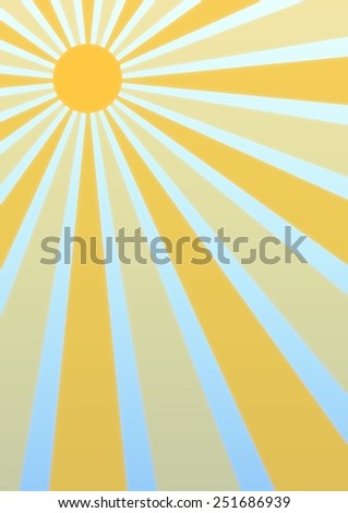 Illustration of a sun with sunbeams and slight haze effect - stock photo