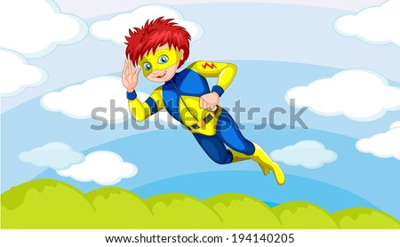 Illustration of a super hero boy in the sky