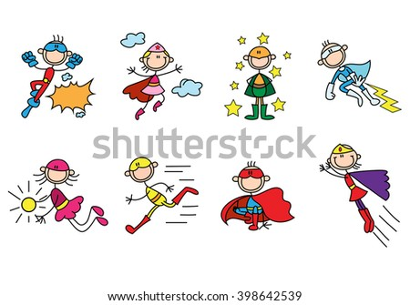 illustration of a super hero stick man flying high over a  white background - stock photo