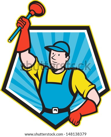 Illustration of a super plumber wielding holding plunger done in cartoon style set inside pentagon shape on isolated background.