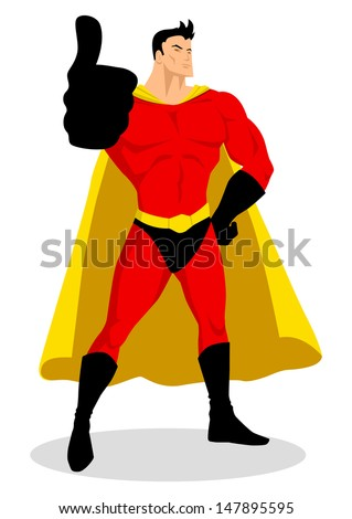 Illustration of a superhero doing thumbs up - stock photo