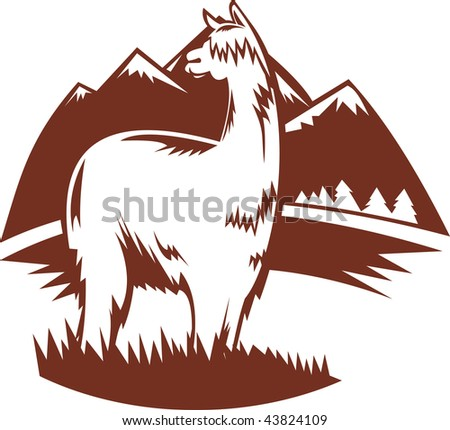 illustration of  a suri alpaca with mountains in the background - stock photo