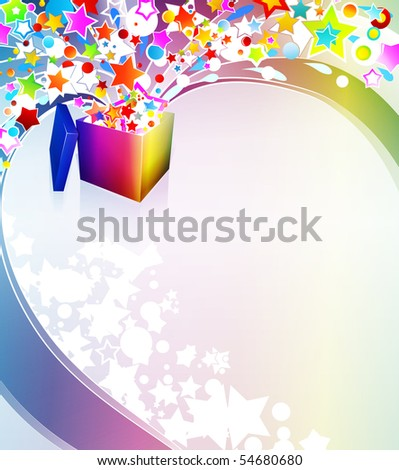 Illustration of a surprise gift box exploding into a flow of rainbow stars and bubbles. - stock photo