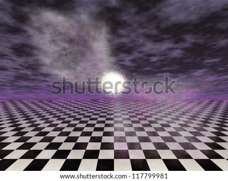 Illustration of a surreal fantasy landscape of a vast checker matrix with clouds in the horizon. - stock photo