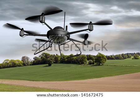 Illustration of a surveillance drone searching the countryside - stock photo