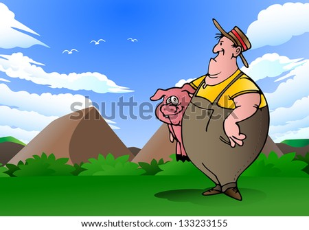 illustration of a swine breeder carry pink pig on nature background - stock photo