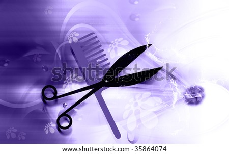 Illustration of a symbol of scissors and comb