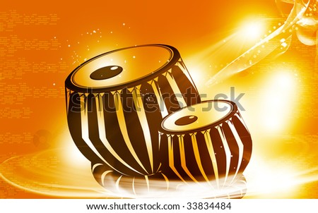 Illustration of a tabla, an Indian music instrument with music notes