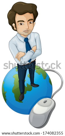 Illustration of a tall man above the globe with a computer mouse on a white background - stock photo