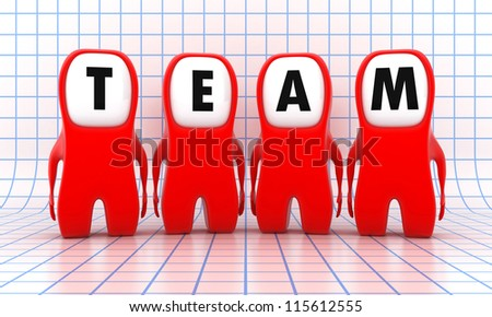 Illustration of a team from red people - stock photo