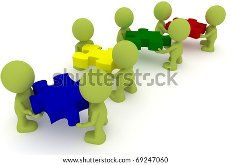 Illustration of a team  putting together puzzle pieces.  Part of my cute green man series. - stock photo