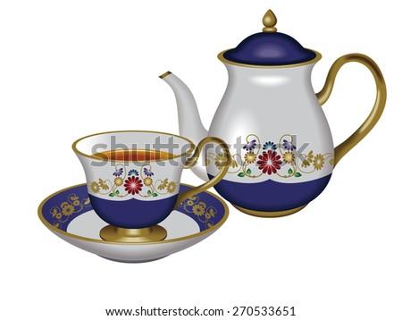 Illustration of a teapot and a teacup. / Blue. / Tea, Herbal tea, Oolong tea. - stock photo