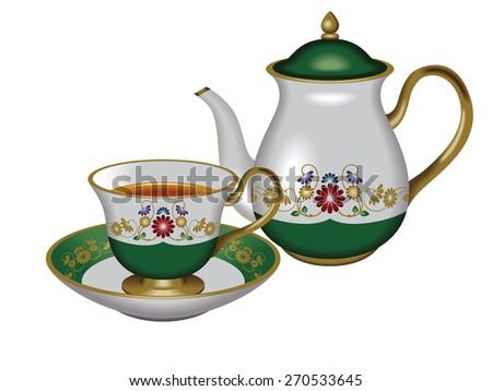 Illustration of a teapot and a teacup. / Green. / Tea, Herbal tea, Oolong tea. - stock photo