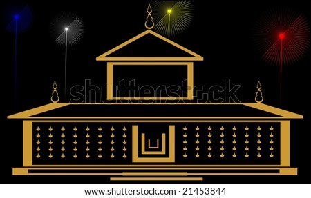 Illustration of a temple and color lights - stock photo