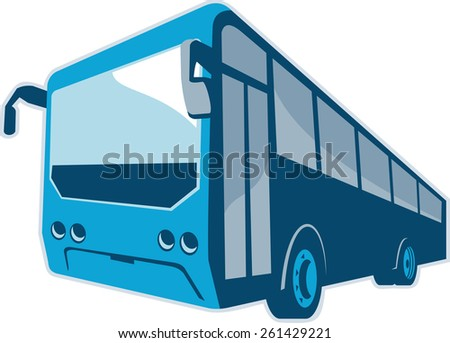 Illustration of a tourist shuttle bus coach viewed from the front done in retro style on isolated white background. - stock photo