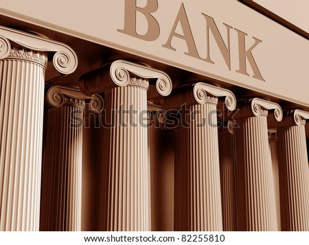 Illustration of a traditional bank with classic columns - stock photo