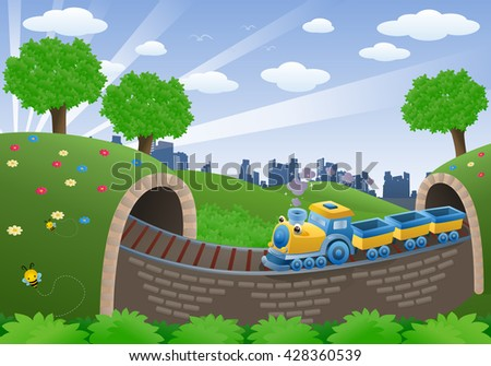 illustration of a train transportation vehicle on natural background - stock photo