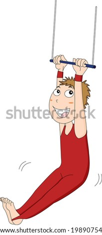 illustration of a trapeze artist in action - stock photo