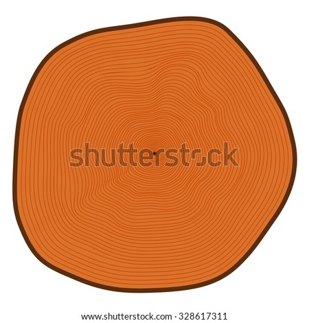 Illustration of a tree in a cut. A plurality of rings.