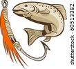 illustration of a trout fish and fishing hook lure bait - stock photo