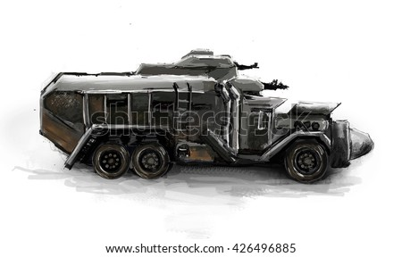 Illustration of a truck in the setting of post apocalypse