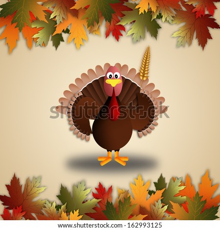 illustration of a turkey for Thanksgiving - stock photo