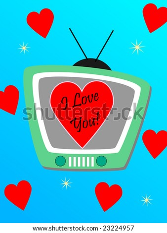 "Illustration of a tv showing an heart and the sentence ""I love you"" - stock photo"