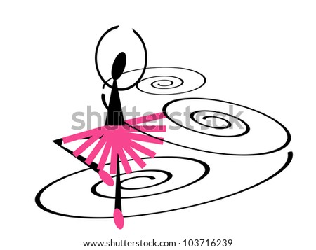 illustration of a twirling ballerina - stock photo