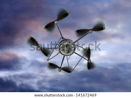 Illustration of a UAV helicopter filming from the sky - stock photo