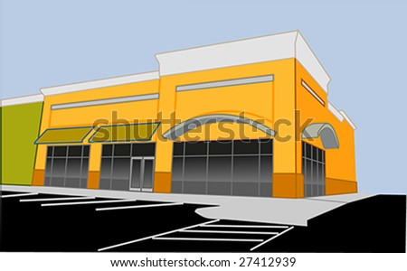 illustration of a upscale corner retail store - stock photo