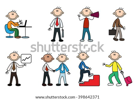 illustration of a variety business stick man over a white background - stock photo