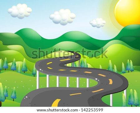 Illustration of a very narrow road