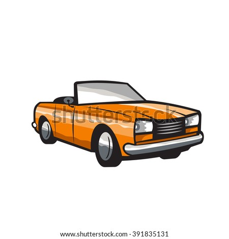 Illustration of a vintage cabriolet coupe car with top-down folding roof viwed from front set on isolated white background done in retro style.