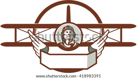 Illustration of a vintage world war one pilot airman aviator bust with spad biplane fighter plane set inside circle done in retro style.  - stock photo
