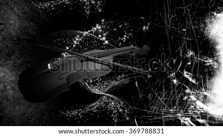 Illustration of a Violin on grunge background