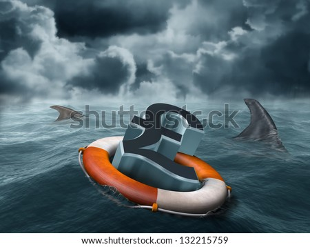Illustration of a vulnerable sterling pound being circled by sharks - stock photo