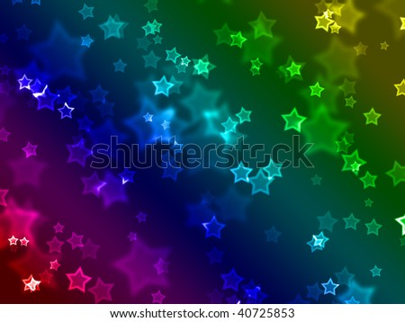 Illustration of a wallpaper made of star shapes and blurs, with color spectrum in the background. - stock photo