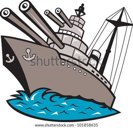 Illustration of a warship battleship boat ship with big guns viewed from a low angle cartoon style. - stock photo