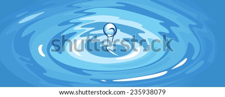 illustration of a water ripple with drop. - stock photo