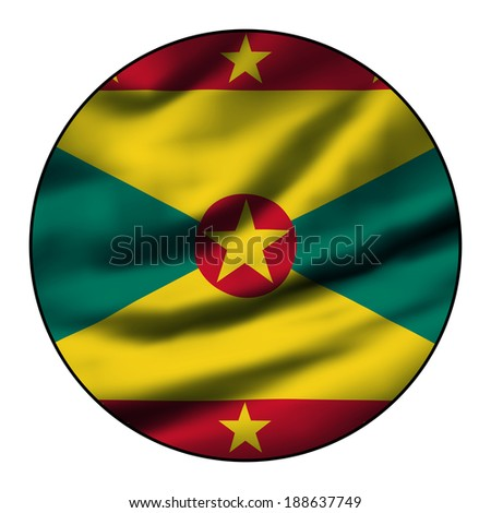 Illustration of a waving flag in a round circle - Grenada - stock photo