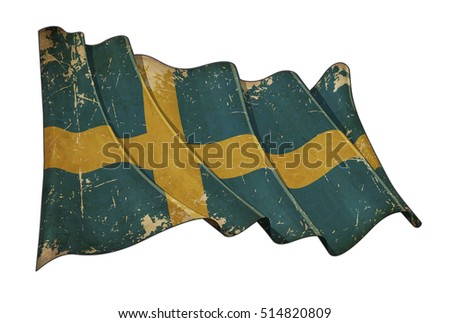 Illustration of a Waving, scratched aged flag of Sweden